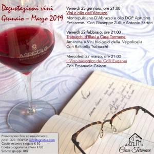 Programma corsi degustazione vino a Casa Tormene gen 2019