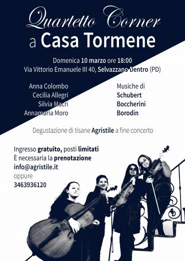 10 Marzo musica classica con quartetto d'archi Corner